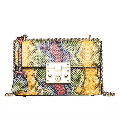 Serpentine Clutch - Bambus Classic Snakeskin Chain Crossbody Bag for Women Fashion Retro Serpentine Handbags Shoulder Bags for Girls & Ladies