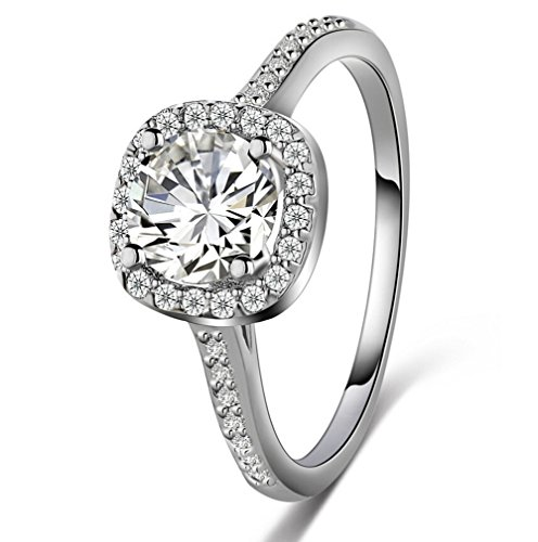 Vincy Sz 6 Sterling Silver 925 Cubic Zirconia CZ 3 Ct. Cushion Cut Halo Engagement Ring