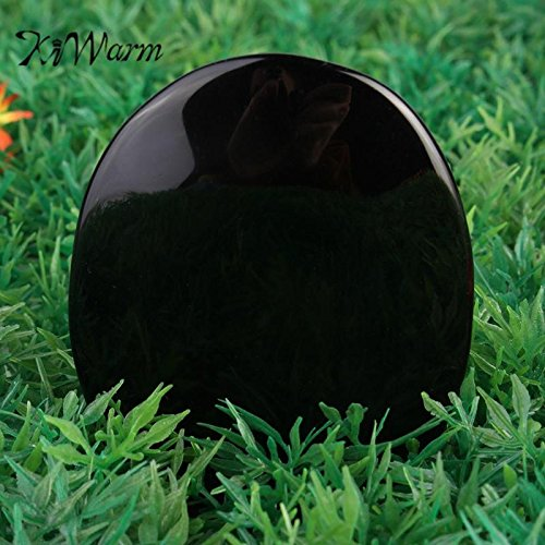 5.5cm7.3cm Large Black Obsidian Scrying Mirror Crystal Gemstone Healing Stone Feng Shui Crafts Home Desk Decor Gift Black Scrying Mirror