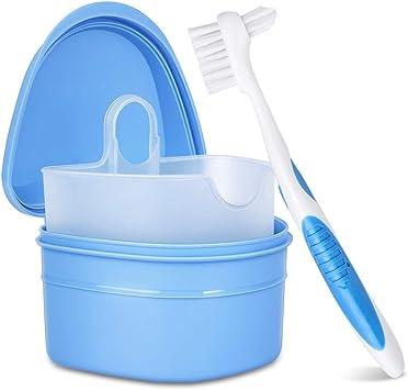 Y-Kelin juego de limpieza de dentadura caja de dentadura + cepillo de dentadura + pastillas de dentadura (Azul): Amazon.es: Salud y cuidado personal