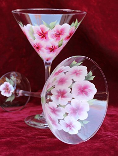 Elegance Cherry (Hand Painted Martini Glasses - Cherry Blossoms (Set of 2))