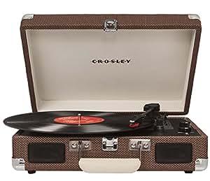Crosley CR8005A-TW Cruiser Portable 3-Speed Turntable, Tweed (Certified Refurbished)