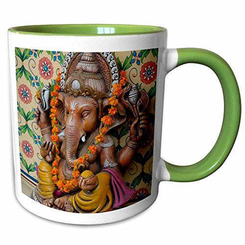 - 3dRose Danita Delimont - Inger Hogstrom - Religion - Small shrine to Ganesh, Jaipur, Rajasthan. - 15oz Two-Tone Green Mug (mug_188173_12)