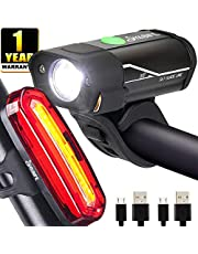 Yabife USB Rechargeable Bike Light Set, 350 Lumens Bicycle Headlight + 120 Lumens Tail Light, Waterproof Front & Rear Cycle Lights for Cycling, Mountain Bike, Men, Women, Kids