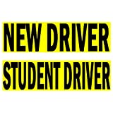 Premium 2 Pack NEW DRIVER + Student Driver decal sign stickers for novice drivers, big text and removable back glue, stick better than magnets, no drop-off at car wash, no damage to paint.