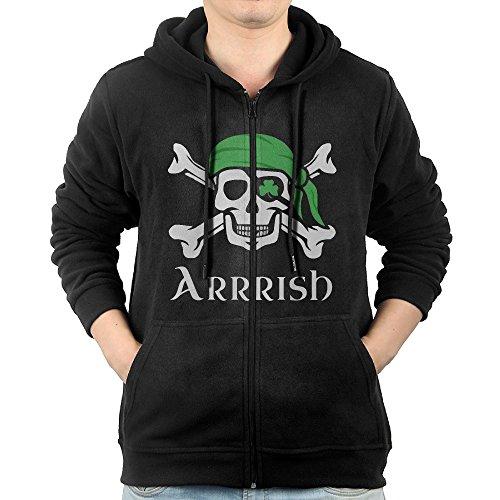 Irish Pirate Boys' Black Long Sleeve Zipper Hoodie Hooded Sweatshirt With Pocket S (Irish Drinking Poster)