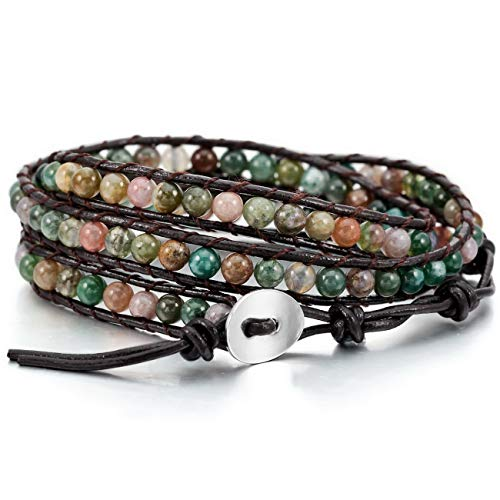MOWOM Colorful Alloy Genuine Leather Bracelet Bangle Cuff