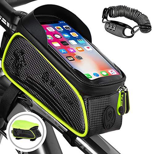 WESTLIGHT Bike Top Tube Bag,Waterproof Front Frame Bag Bicycle Bag,Bike Phone Front Frame Bag for MTB BMX,Touch Screen…