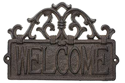 Comfify Welcome Sign for Door - Cast Iron Rustic Welcome Sign | Decorative Welcome Wall Plaque | Vintage Design | for Door, Entrance or Porch | Indoor or Outdoor Use | 9.4 X 6.5 (Rust Brown)