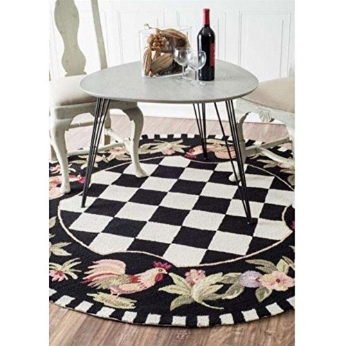 nuLOOM Heritage Collection Home on The Range Animal Prints, Kids, Country and Floral Hand Made Round Area Rug, 6-Feet, Black