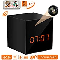 PANORAXY B100V.3 Mini WiFi Hidden Spy Nanny Camera, Invisible Lens,8mtrs Super Night Vision, Remote 720P Live Video, Free App on IOS&Android Phone Pad,Loop Record,12&24 Hours,Clock Alarm,Free 16G card
