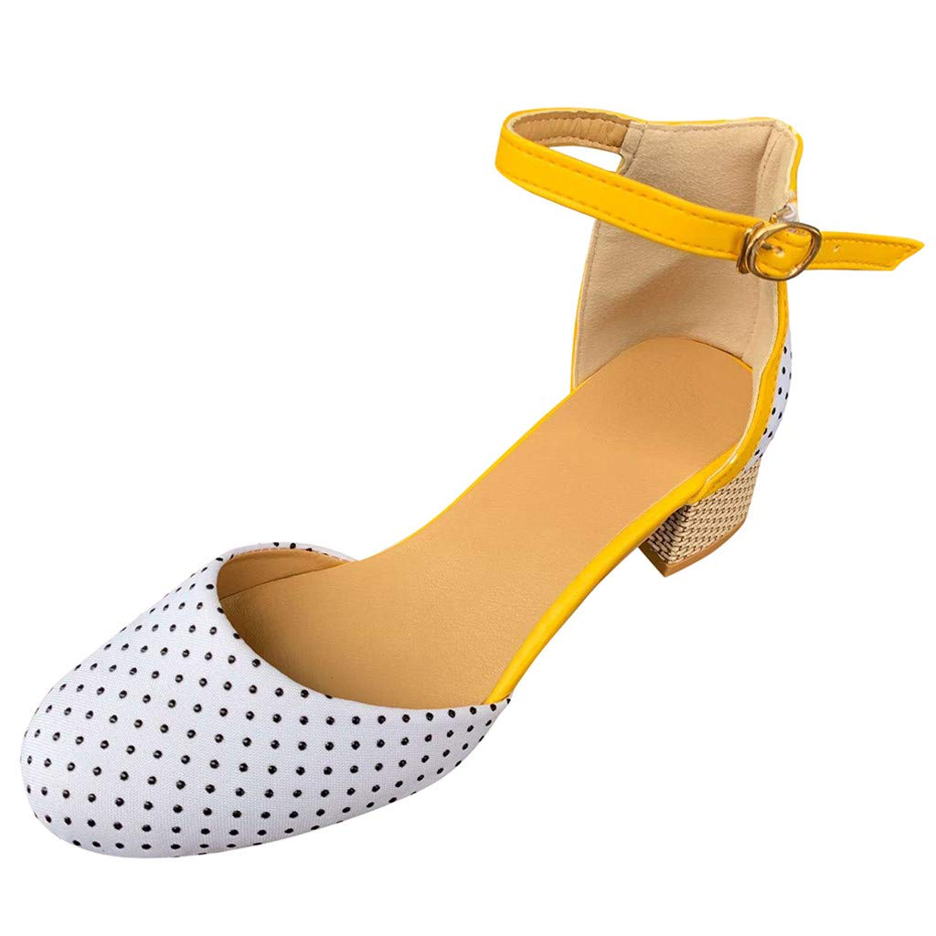 Women Sandals, LIM&Shop Block Heel Wedge Shoes Ankle Strap Round Toe High Heeled Soft Sole Casual Flats Dress Pump Yellow