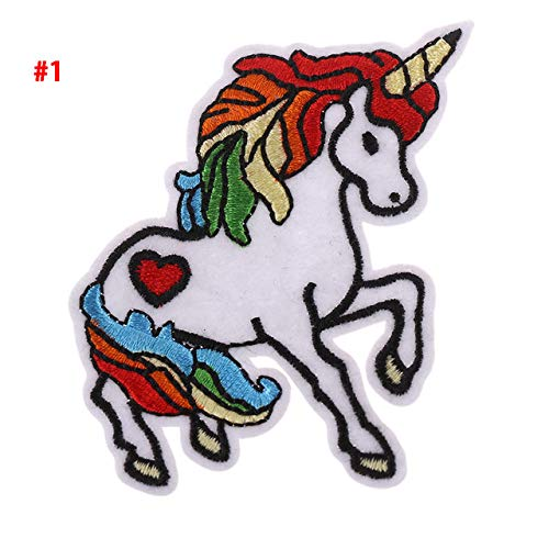 STORE-DECORATIVE - 3 Pc Unicorn/Lips/Feather/Guitar/Eyes DIY Craft Embroidered Sew Iron On Patch Badge Hat Bag Fabric Applique Clothes (Tacking Iii Iron)