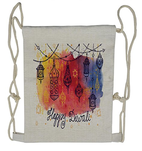 Lunarable Diwali Drawstring Backpack, Watercolor Sketch Pattern, Sackpack Bag by Lunarable