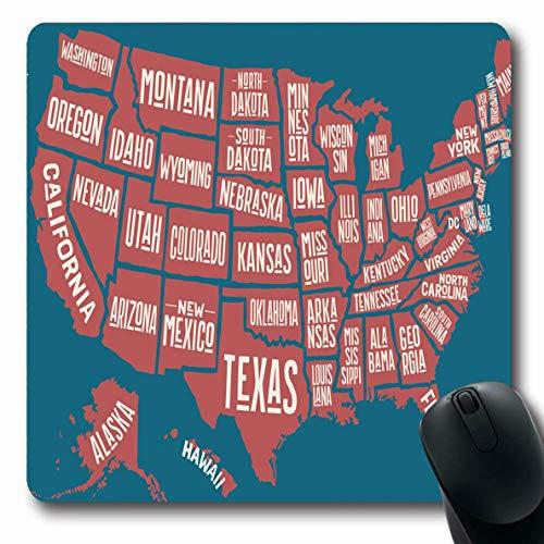 Ahawoso Mousepad Oblong 7.9x9.8 Inches Land California Map United States Massachusetts America Arizona City Texas Louisiana Design Dc Office Computer Laptop Notebook Mouse Pad,Non-Slip Rubber