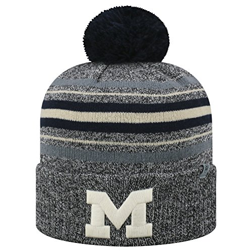 (Top of the World Michigan Wolverines Official NCAA Cuffed Knit Sock Hop Stocking Stretch Hat Cap Beanie Pom 473017)