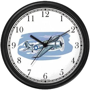 WatchBuddy F4F Wildcat Airplane or Air Plane Wall Clock Timepieces Black Frame