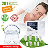 Anti Snoring Devices Tongue, 4 Set Snore Stopper Nose Vents Nasal Dilators Stop Snoring Solution Snoring Mouthpiece Sleep Aid Device Snore Reduction Silicone Snoring Tongue Retainer for Men Women