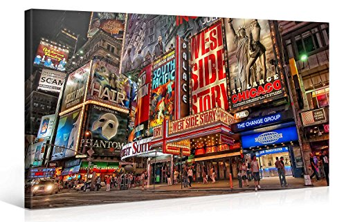 (Large Canvas Print Wall Art – MUSICAL BROADWAY – 40x20 Inch New York Cityscape Canvas Picture Stretched On A Wooden Frame – Giclee Canvas Printing – Hanging Wall Deco Picture / e6120)