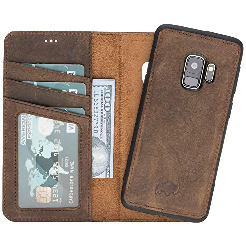 Burkley Case Magnetic Detachable Leather Wallet Folio Case with Snap-on Cover for Samsung Galaxy S9, Hand-Wrapped in Premium Turkish Leather (Antique Coffee) ()