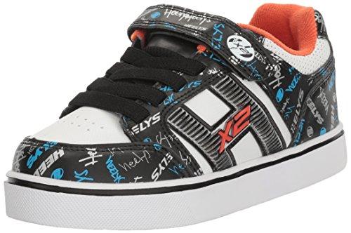 Heelys Boys' Bolt Plus x2 Sneaker, Black/White/Orange, 1 M US Little (1 Kids Orange White Sneakers)