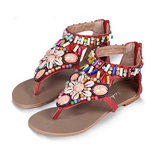 Sandalias Planas Bohemia De Mujer Zapatos Con Cremallera Sandalias De Playa Clip Toe Verano Roman T-Correa Rojo
