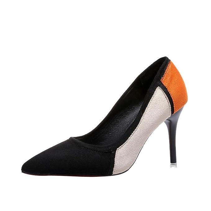 Tacones de mujer Covermason Primavera Casual zapatos de punta estrecha Flock
