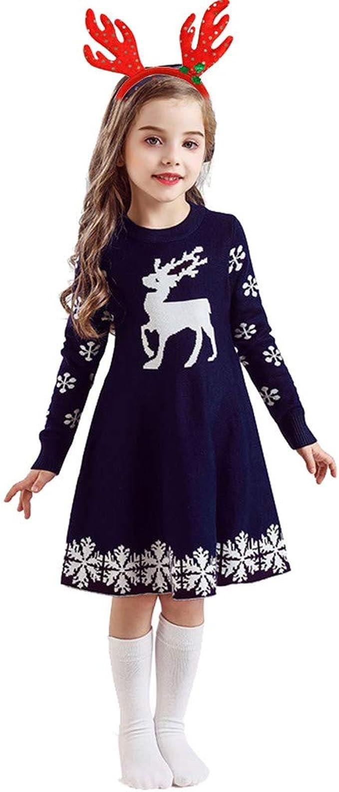 Kinder Kinder Mädchen Langarm Kleid Weihnachten Stil Druck Xmas Kleidung