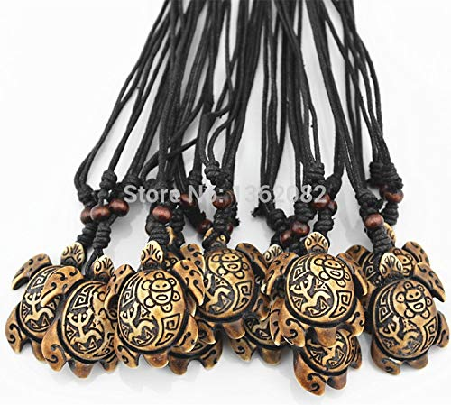 Davitu Wholesale 12 pcs Tribal Island Taino Style Sun Smiley Frog Surfing Sea Turtles Pendant Lucky Necklace Amulet Gift MN173