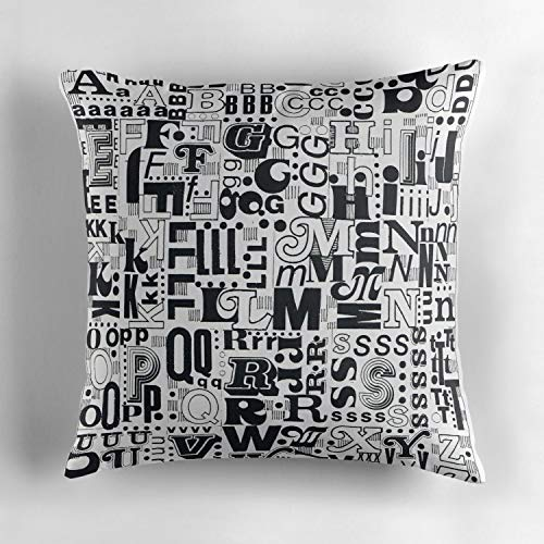 (Alphabet Soup Throw Pillow Cover Square 18x18 Inch Cotton Decorative Cushion Cover for Sofa Bed Home Decoration )
