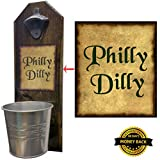 """Philly Dilly"" Beer Bottle Opener and Cap Catcher, Wall Mounted – Handcrafted by a Vet – Solid Pine 3/4″ Thick – Rustic Cast Iron Opener & Galvanized Bucket – Just Twist to Empty – Championship Gift!"