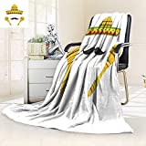 YOYI-HOME Digital Printing Duplex Printed Blanket Mexican Symbols Sombrero Hat Musical Maracas Summer Quilt Comforter/47 W by 79'' H