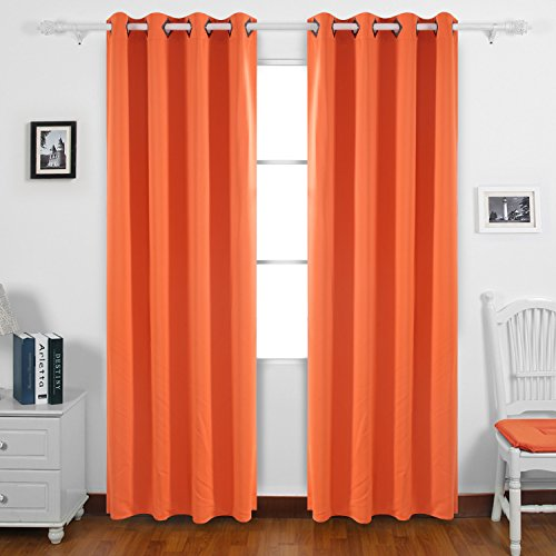 Deconovo Solid Blackout Curtains with Grommet Thermal Inshualted Window Curtains Room Darkening Curtains for Office 52W x 95L Inch Orange 1 - Orange Block The Of