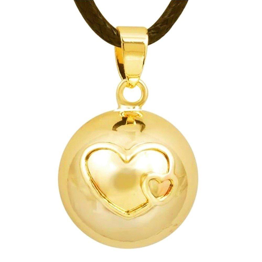 BOBIJOO Jewelry - Collier de Grossesse Bola Mexicain Pendentif Double Coeur Doré Or Fin + Cordon