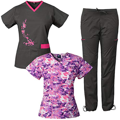 Medgear 3-Piece Stretch Scrubs Set with Embroidery and Printed Top Combo OCLL