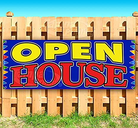 Amazon.com: Open House - Cartel de vinilo resistente con ...