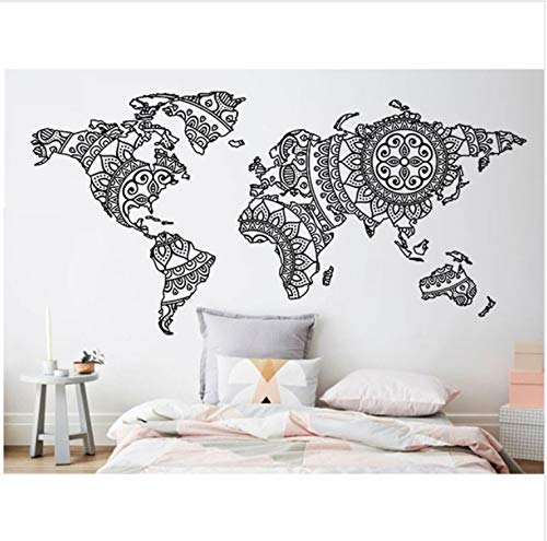 OJVVOP Mandala Mapa del Mundo Etiqueta De La Pared Dormitorio Decoración Yoga Pared De Vinilo Patrón De Arte Tatuajes De Pared Moderno Estilo Boho ...