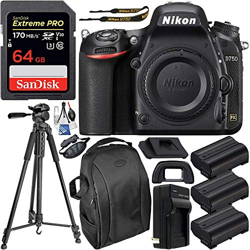 Nikon D750 DSLR Camera (Body Only) & Deluxe Accessory Bundle – Includes: SanDisk Extreme PRO 64GB SDXC Memory Card, 2X Extended Life Replacement Battery, 75″ Tripod, Professional Backpack & More