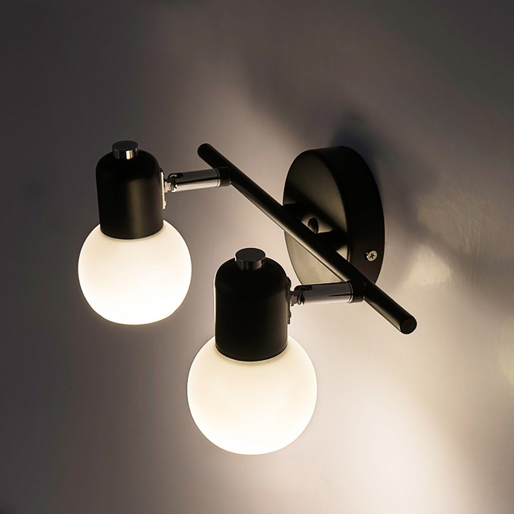 DLewiee 鍛鉄壁ランプガラスランプシェードミラーヘッドライトled暖かい光のバスルームのドレッシングランプミラーキャビネット照明 B07BMBQKR9 10407 ダブルイエローライト ダブルイエローライト