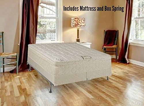 Continental Sleep, 10-Inch Plush Medium Eurotop Pillowtop Innerspring Mattress And Wood Traditional Box Spring/Foundation Set, Good For The Back, No Assembly Required, King Size 79