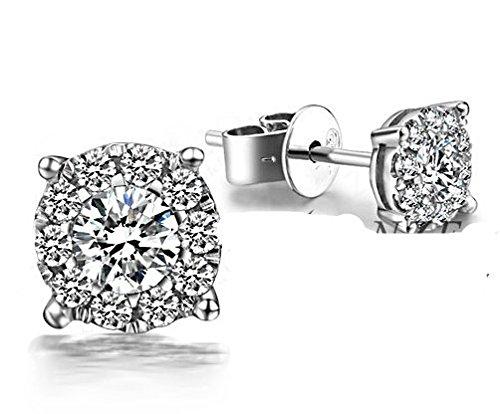 Gowe 0,25carat Cluster véritable diamant véritable or blanc 18K Diamant Halo Boucles d'oreille à tige fine bijoux en or massif Boucles d'oreilles clous