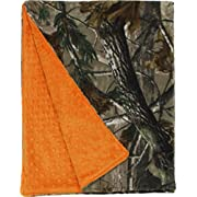 ZUZIFY Realtree Minky Dot Double-Layer Fleece Baby Blanket. ZUZ0028 One Size Realtree All-Purpose/Orange