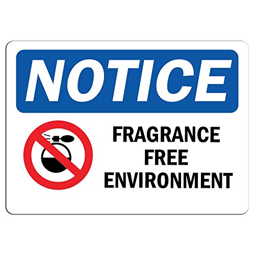 Notice - Fragrance Free Environment Sign with Symbol | Label Decal Sticker Retail Store Sign Sticks to Any Surface 8