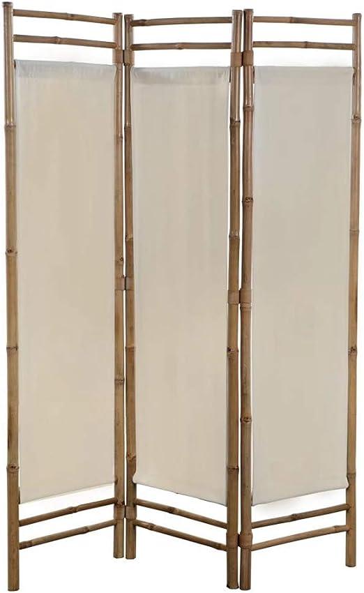 EBTOOLS Biombo Plegable 3 Panel, Separador de Habitación Divisor de Habitaciones Decoración Elegante Divide Espacio Tabique de Separación Bambú y Lona Crema, 120 x 160 cm: Amazon.es: Hogar