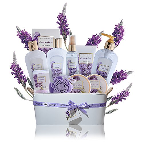 Luxury Lavender Gift Baskets for Women - 11 pcs Premium spa gift set with essential oils for Relaxation and Lush Spa Experience Perfect lavender gifts for women, mothers day gifts by Green Canyon Spa (Relaxing Basket Spa Lavender Gift)