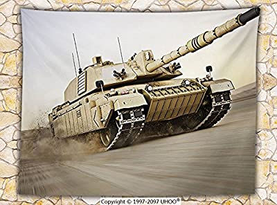 War Home Decor Fleece Throw Blanket Military Tank Moving Speedy with Motion Blur over Sand Dangerous Artillery Weapon Throw Beige