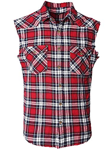 NUTEXROL Men's Casual Flannel Plaid Shirt Sleeveless Cotton Plus Size Vest Red&Black 3XL