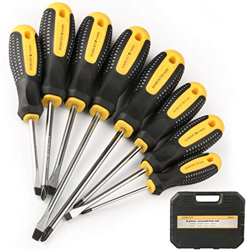 Screwdriver Case Set (HARVET Professional 8PCS Magnetic Cushion Grip Screwdriver Set with Case, Slotted and Phillips Tips, Repair Toolkit For Wet, Oily Hand Work)
