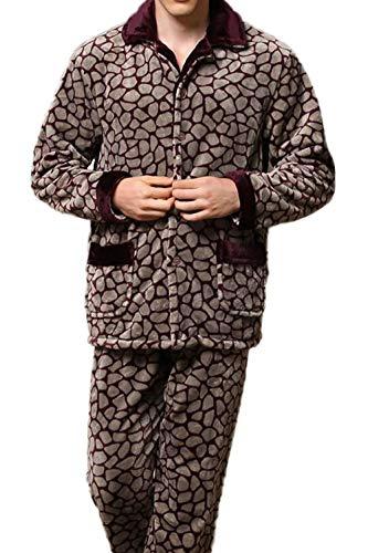 Red2 Maniche Due Servizio Lunghe Caldo Homewear Pigiama Pigiameria Moda Casa Uomo Corallo Inverno Set Cashmere Risvolto aq4pZ07