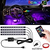 PEYOU Car Interior Lights, Waterproof 4 Pcs 48 LED Car Strip Light USB Powered RGB 8 Colors Music Atmosphere Strip Light Underdash Lighting Kit with Sound Active Function and Wireless Remote Control, Universal Fit for Cars Trucks